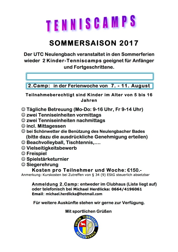 Tenniscamp August 2017
